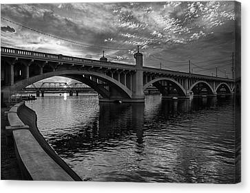 Canvas Print featuring the photograph Mill Avenue Bridge At Sunset Black And White by Dave Dilli