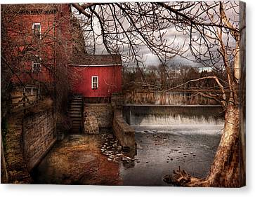 Mill - Clinton Nj - The Mill And Wheel Canvas Print by Mike Savad