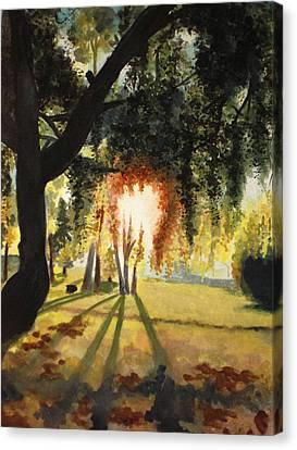 Mill Lake At Sunset Canvas Print by Vivian  Mosley