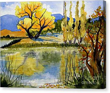Mill Pond Autumn Canvas Print by Pat Crowther