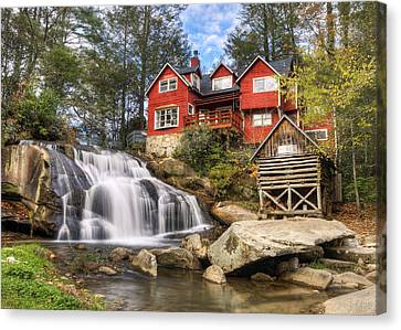 Grist Mill Canvas Print - Mill Shoals Falls - Wnc Blue Ridge Waterfalls by Dave Allen