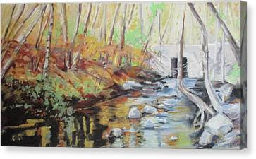 Mill Stream, October Canvas Print by Grace Keown