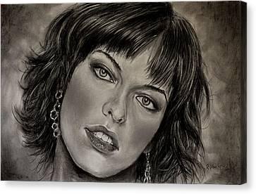 Demo Canvas Print - Milla Jovovich Pastel Portrait by Valery Rybakow