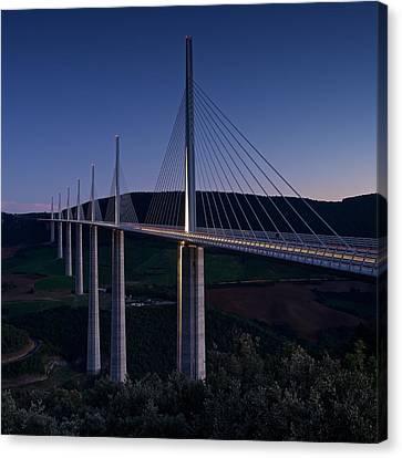 Millau Viaduct At Dusk Canvas Print