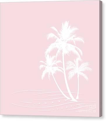 Millennial Pink White Tropical Palm Hawaii Canvas Print by Sharon Mau