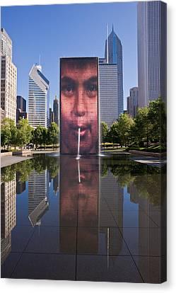 Millennium Park Fountain And Chicago Skyline Canvas Print by Steve Gadomski