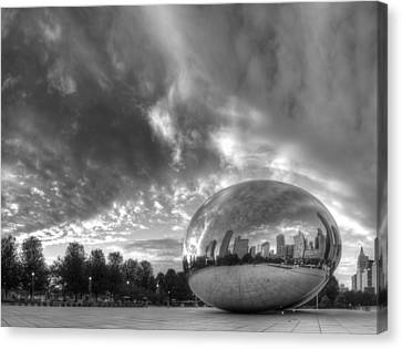 Millennium Park In Black And White Canvas Print by Twenty Two North Photography