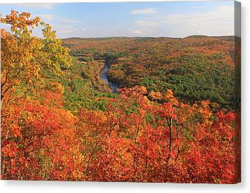 Millers River Valley In Autumn Canvas Print by John Burk