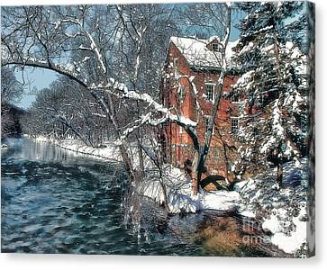 Mill House In Winter Canvas Print