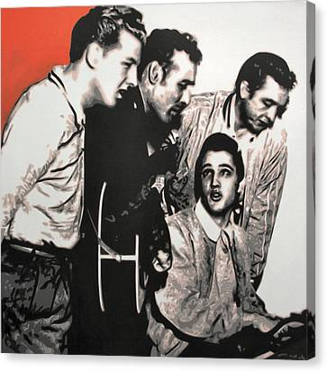 Million Dollar Quartet Canvas Print by Luis Ludzska