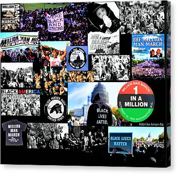 Black Panther Party Canvas Print - Million Man March Montage by Adenike AmenRa