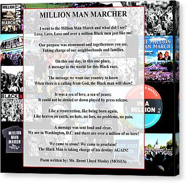 Black Panther Party Canvas Print - Million Man Marcher By Moses by Adenike AmenRa