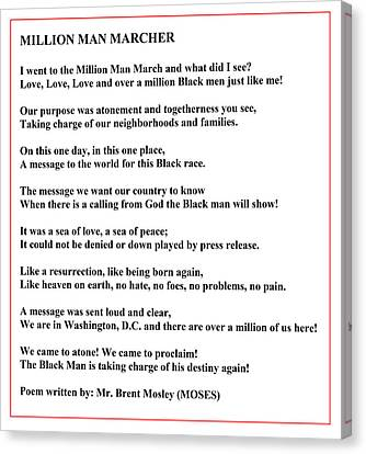 Black Panther Party Canvas Print - Million Man Marcher Poem By Moses by Brent Lloyd Mosley