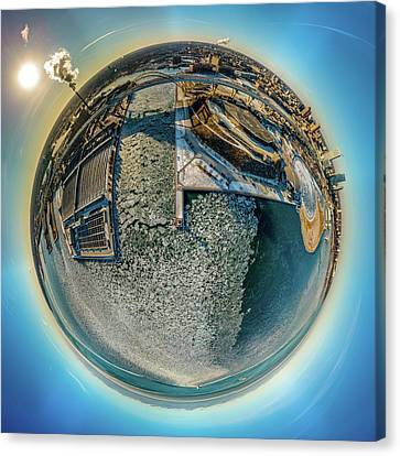 Canvas Print featuring the photograph Milwaukee Pierhead Light Little Planet by Randy Scherkenbach