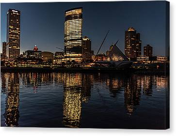 Canvas Print featuring the photograph Milwaukee Reflections by Randy Scherkenbach