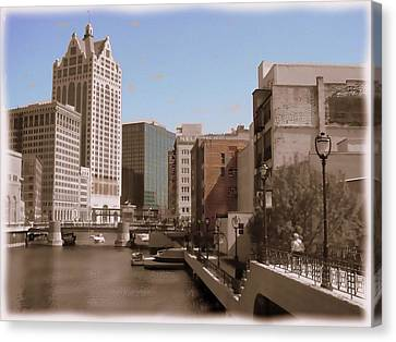 Milwaukee Riverwalk Canvas Print by Anita Burgermeister