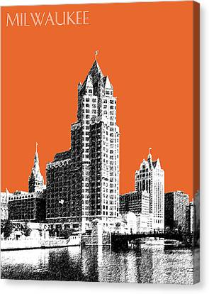 Milwaukee Skyline - 4 - Coral Canvas Print by DB Artist