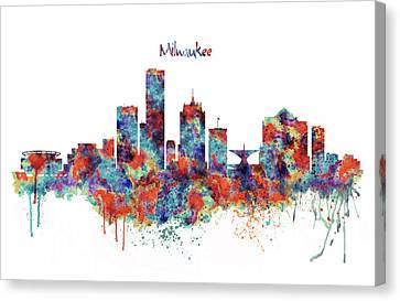 Canvas Print featuring the mixed media Milwaukee Watercolor Skyline by Marian Voicu