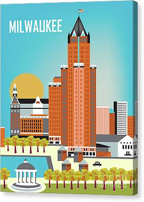 Milwaukee Wisconsin Vertical Skyline Canvas Print by Karen Young