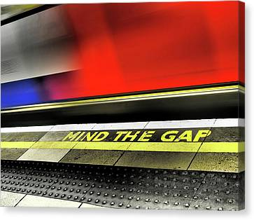 London Tube Canvas Print - Mind The Gap by Rona Black