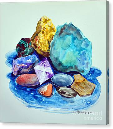 Minerals And Beachstones Canvas Print by Joan Hartenstein