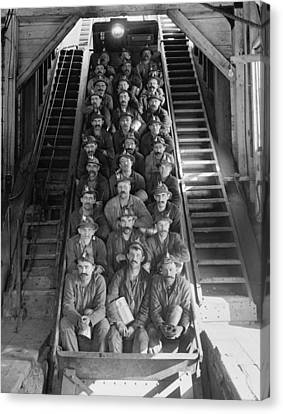 Miners In An Open Tram At The Calumet Canvas Print by Everett