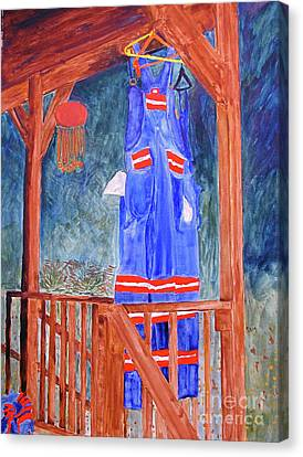 Canvas Print featuring the painting Miner's Overalls by Sandy McIntire