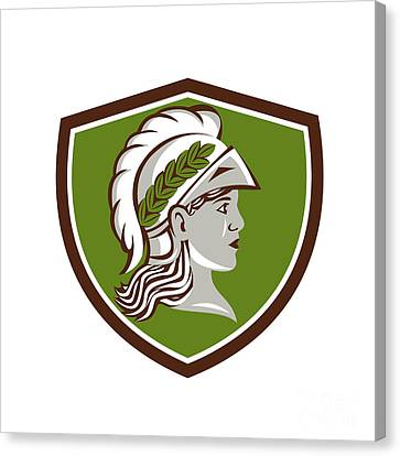 Minerva Head Crest Retro Canvas Print by Aloysius Patrimonio