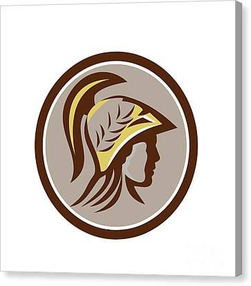 Minerva Head Helmet Circle Retro Canvas Print by Aloysius Patrimonio