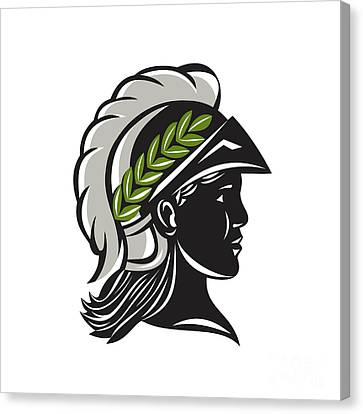 Minerva Head Profile Silhouette Retro Canvas Print by Aloysius Patrimonio