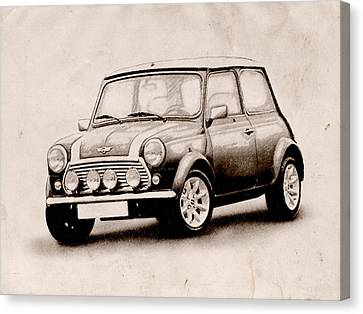 Mini Cooper Sketch Canvas Print by Michael Tompsett