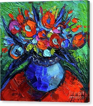 Mini Floral On Red Round Table Canvas Print