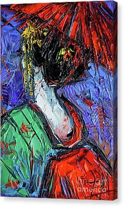 Apprentice Canvas Print - Miniature Geisha Impasto Palette Knife Oil Painting On Canvas by Mona Edulesco