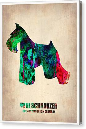 Miniature Schnauzer Poster 2 Canvas Print by Naxart Studio