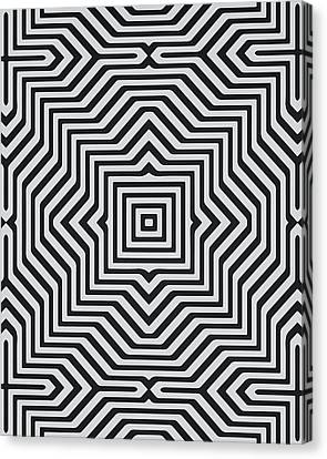 Repeat Canvas Print - Minimal Geometrical Optical Illusion Style Pattern In Black White T-shirt  by Philipp Rietz