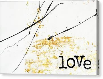 Minimalist Love Collage Gold And Black Canvas Print by WALL ART and HOME DECOR