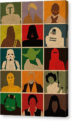 Boba Fett Canvas Print - Minimalist Star Wars Character Colorful Pop Art Silhouettes by Design Turnpike