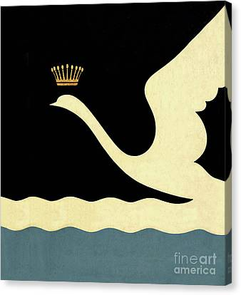 Minimalist Swan Queen Flying Crowned Swan Canvas Print by Tina Lavoie