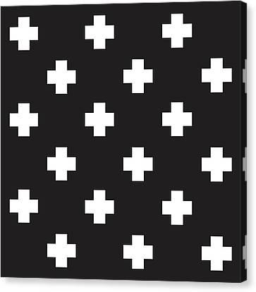 Minimalist Swiss Cross Pattern - Black, White 01 Canvas Print by Studio Grafiikka