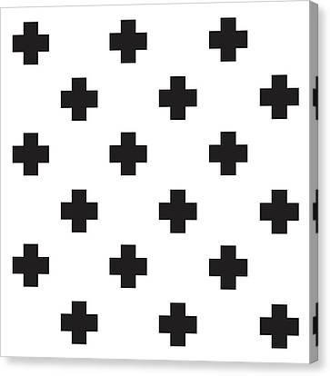 Minimalist Swiss Cross Pattern - Black, White 02 Canvas Print by Studio Grafiikka
