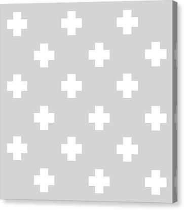 Minimalist Swiss Cross Pattern - Grey, White 01 Canvas Print by Studio Grafiikka