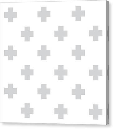 Minimalist Swiss Cross Pattern - Grey, White 02 Canvas Print by Studio Grafiikka