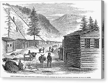Log Cabins Canvas Print - Mining Camp, 1860 by Granger