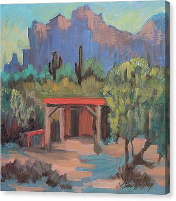 Canvas Print featuring the painting Mining Camp At Superstition Mountain Museum by Diane McClary