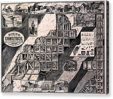 Mining On The Comstock, Cutaway Canvas Print by Everett