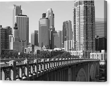 Minneapolis Black And White Canvas Print by Heidi Hermes