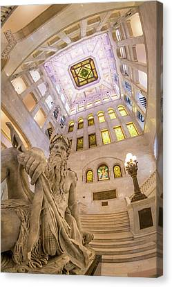 Minneapolis City Hall Rotunda, Father Of Waters Canvas Print by Jim Hughes