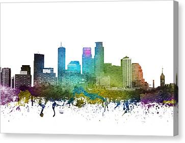 Minneapolis Cityscape 01 Canvas Print by Aged Pixel
