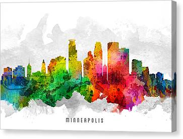Minneapolis Minnesota Cityscape 12 Canvas Print by Aged Pixel