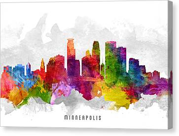 Minneapolis Minnesota Cityscape 13 Canvas Print by Aged Pixel